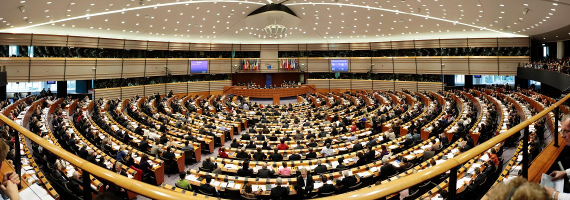 Panoramic view of the Hemicycle inside the Paul-Henri SPAAK Building.